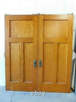 1800's Antique POCKET DOORS Three Panel CRAFTSMAN / MISSION Style Oak ORNATE