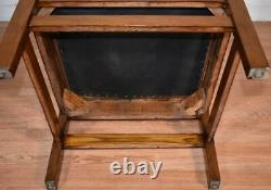 1910 Antique Mission arts and crafts Tiger Oak Leather Stickley style Arm chair