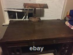 1930's Oak Partner Desk Dovetail Mission