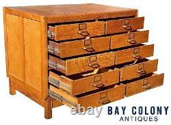 20th C Antique Arts & Crafts / Mission Oak 10 Drawer Industrial Oak File Cabinet
