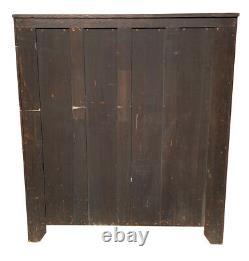20th C Antique Arts & Crafts / Mission Oak Sliding Door Tiger Oak Bookcase