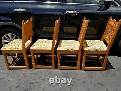 4 Antique Spanish Revival Mission Oak Jacobean Style Dining Chairs