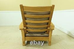 51596EC STICKLEY Mission Oak Spindled Morris Chair w. Leather