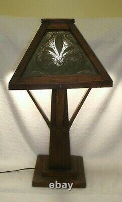 ANTIQUE STICKLEY ERA 21 MISSION OAK ARTS & CRAFTS TABLE LAMP mission Prairie