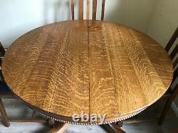 Antique 1800's Quartersawn Oak Mission Style Dining Room Table & 4 Chairs + Leaf