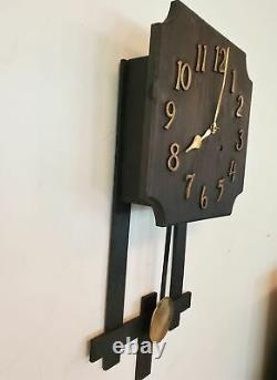 Antique 8 Day Gilbert Mission Wall Clock Oak Gong and Bell Strike 1907 Works