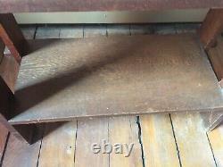 Antique Arts & Crafts BOOKSHELF MISSION Dark Oak Heavy 33H X 24W X 12D #2
