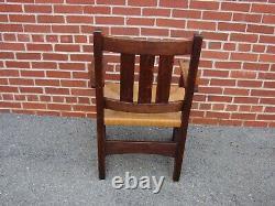 Antique Arts & Crafts / Mission Oak Arm Chair Stickley Limbert Roycroft Era