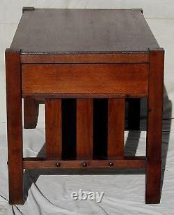 Antique Arts & Crafts Mission Oak Craftsman Office Desk -original Fumed Finish