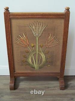 Antique Arts & Crafts / Mission Oak Craftsman Tapestry Firescreen
