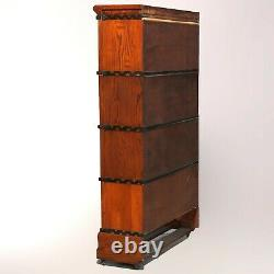 Antique Arts & Crafts Mission Oak Macey Four-Stack Barrister Bookcase circa 1910