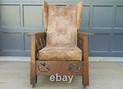 Antique Arts & Crafts Mission Oak Wingback Craftsman Recliner Morris Chair