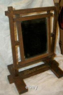 Antique Arts & Crafts Mission Shaving Oak Advertising Mirror Flexo Garters