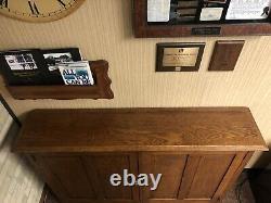 Antique Arts & Crafts Mission Style Quarter Sawn Oak Raised Panel Cubby Cabinet