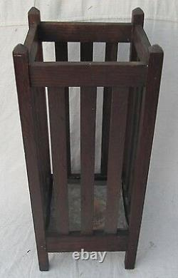 Antique Arts & Crafts Period Mission Oak Craftsman Umbrella Hall Stand
