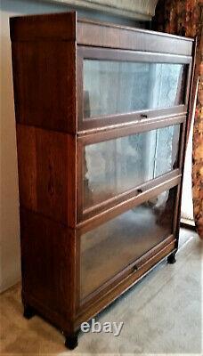 Antique Barrister Bookcase MISSION OAK 3 SECTION Arts & Crafts VG Deliver 100Mi