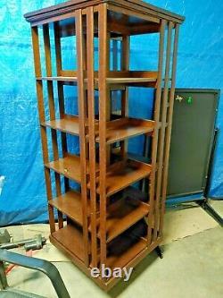 Antique Danner Arts & Crafts Mission Oak Rotating Revolving Bookcase, circa 1910