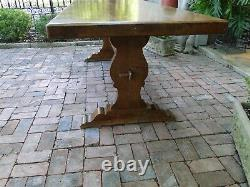 Antique French Farmhouse Table Desk Over 7 ft Trestle Dining Table Oak Mission