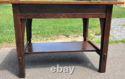 Antique Gustav Stickley 2 Drawer Mission Oak Library Table- Red Decal