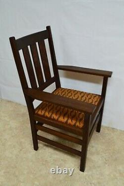 Antique Gustav Stickley Mission Oak Set of 4 Dining Chairs