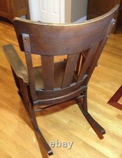 Antique Heywood Brothers & Wakefield Company Mission Rocking Chair Solid Oak