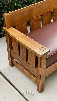 Antique LIFETIME FURNITURE CO. Solid Oak Mission Sofa Signed C1910
