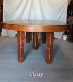 Antique L & JG Stickley Mission Arts & Crafts 54 Round Oak Dining Table 4 Lea
