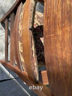 Antique L & JG Stickley Mission Oak Arm Chair Arts & Craft Rare Back Cushin
