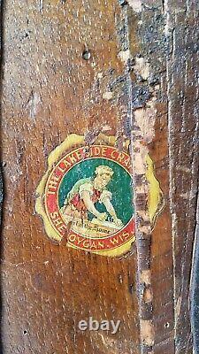 Antique Lakeside Craft Shop Rocking Stool Leather Arts & Crafts Mission Oak