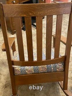 Antique Limbert Mission Arts & Crafts Ladderback Quartersawn Oak Rocking Chair