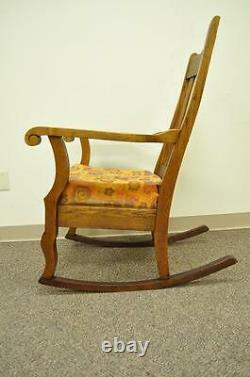 Antique Mission Arts & Crafts Carved Solid Oak Rocking Lounge Chair Rocker vtg