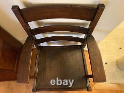 Antique Mission Arts & Crafts L & JG Stickley Oak Ladder back Chair 1912-1917