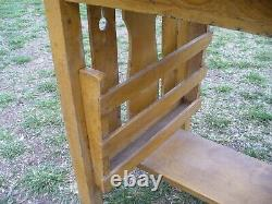 Antique Mission Arts & Crafts Oak Library Table Magazine Rack Old Mustard Paint