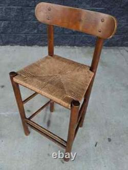 Antique Mission Arts & Crafts Turned Oak Shaker Rush Seat Counter Bar Stools