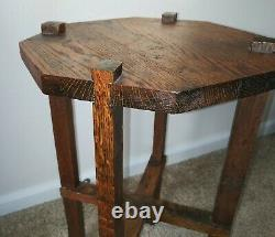 Antique Mission Arts and Crafts Small Oak Table or Plant Stand Early 1900's