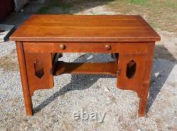 Antique Mission Oak Arts & Crafts Desk Library Table Bookshelves Craftsman