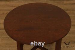 Antique Mission Oak Arts & Crafts Period 36 inch Round Lamp Table
