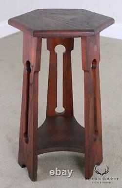 Antique Mission Oak Arts & Crafts Taboret Side Table