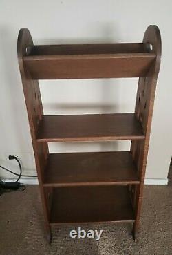 Antique Mission Oak Bookcase Book Shelf Arts And Crafts Roycroft Stickley Era