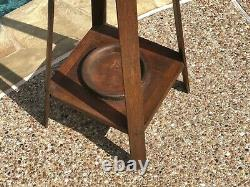 Antique Mission Oak Floor COAT RACK Vintage Arts & Crafts Hat Umbrella Stand