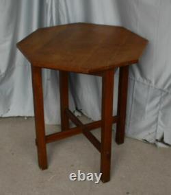 Antique Mission Oak Lamp table taboret octagonal shape Arts & Crafts