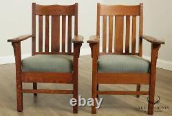 Antique Mission Oak Pair Armchairs