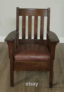Antique Mission Oak Slatted Armchair