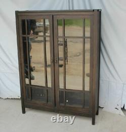 Antique Mission Oak double door Bookcase pane windows Arts & Crafts Style