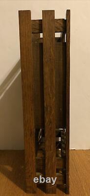 Antique Mission Style Mantle Clock Oak Arts & Crafts Craftsman Mechanical No Key