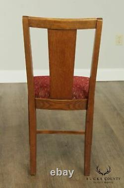 Antique Mission Style Oak Set 6 T Back Dining Chairs
