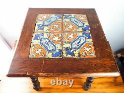 Antique Mission Style Tiled End Table California Tile Oak Side Tile 1910s 1920s