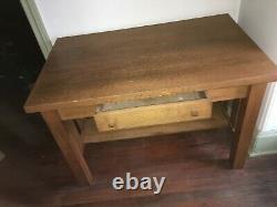 Antique Oak Arts and Crafts Mission Desk with Drawer, Harden or Stickley