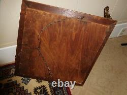 Antique Oak Frame Beveled Mirror Brass Coat Rack Vintage Mission Arts & Crafts