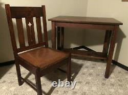 Antique Oak Mission Library Desk Table with Matching Chair